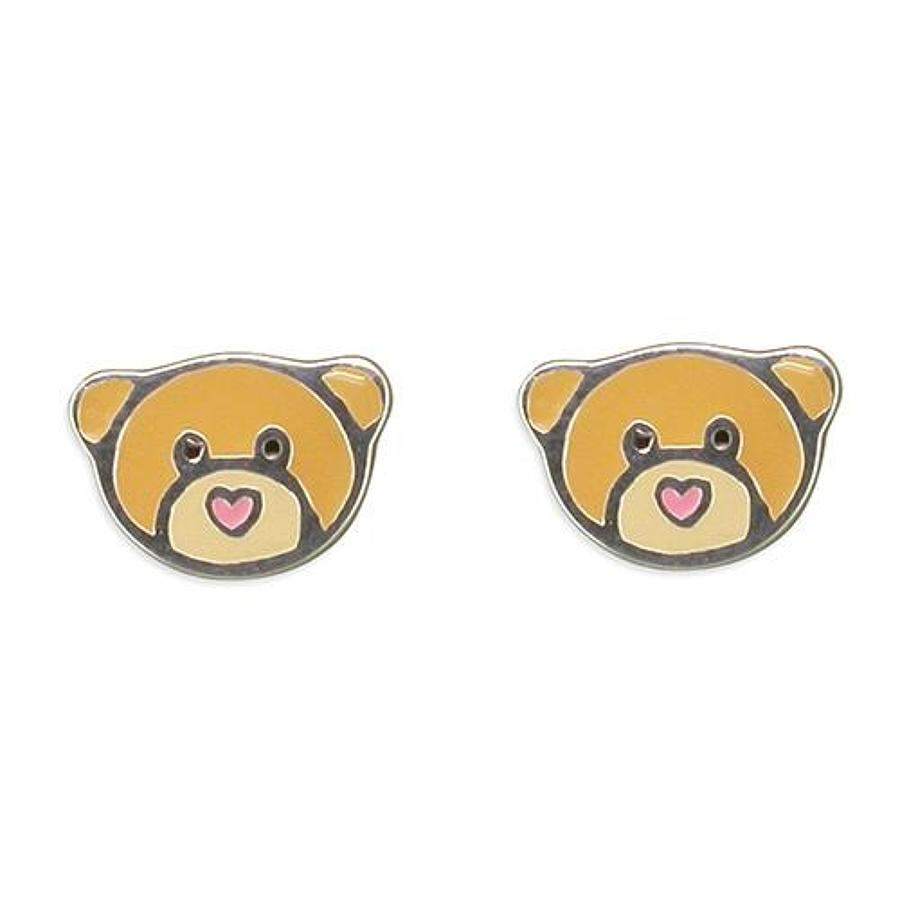 Sterling Silver Enamel Teddy Bear Stud Earrings