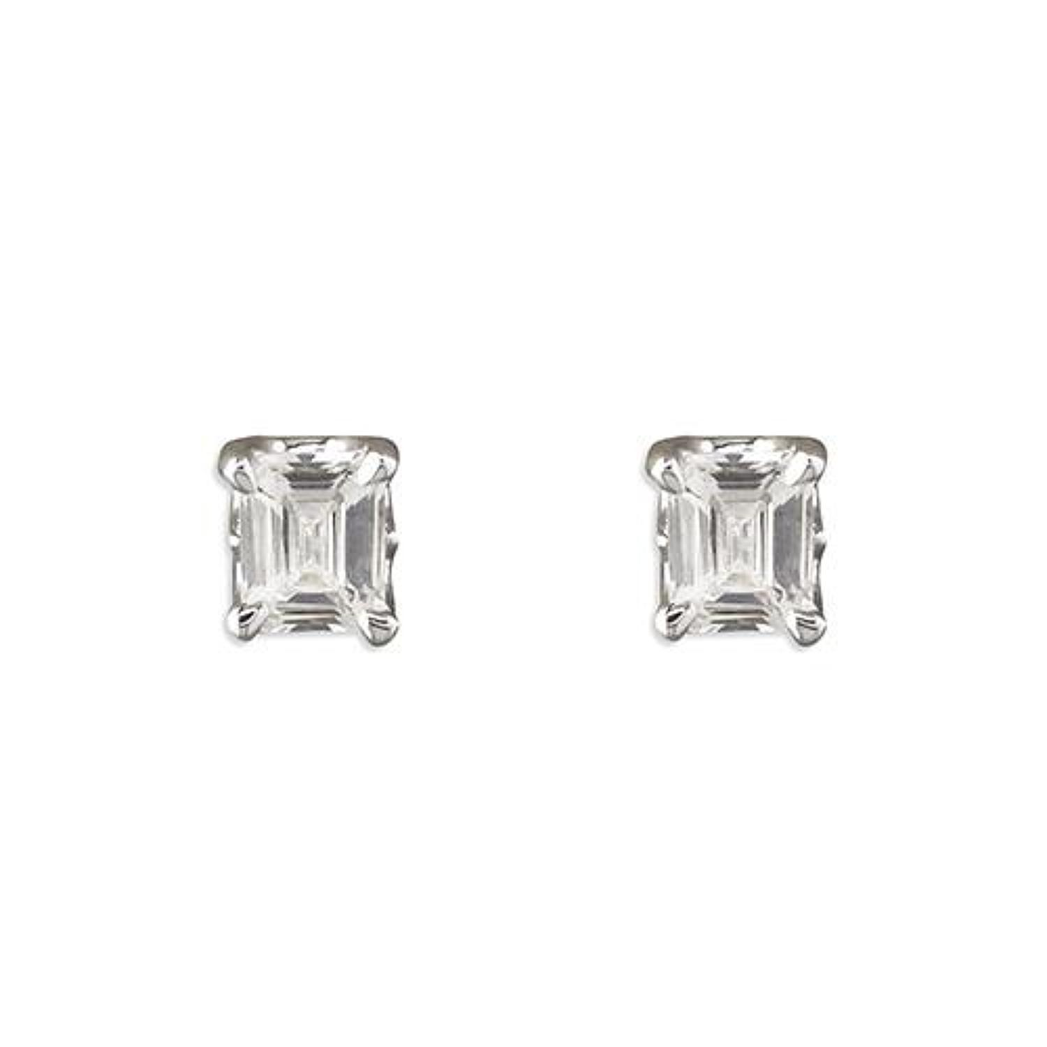 Sterling Silver Cubic Zirconia Rectangle Stud Earrings