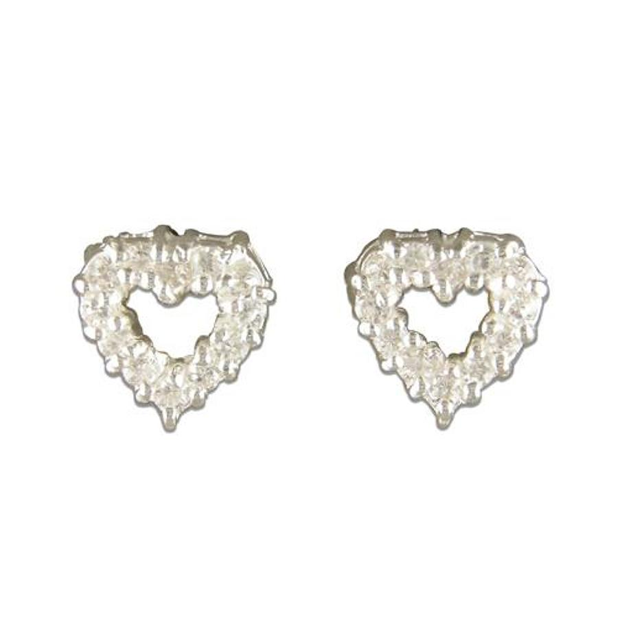 Sterling Silver Open Heart Cubic Zirconia Stud Earrings