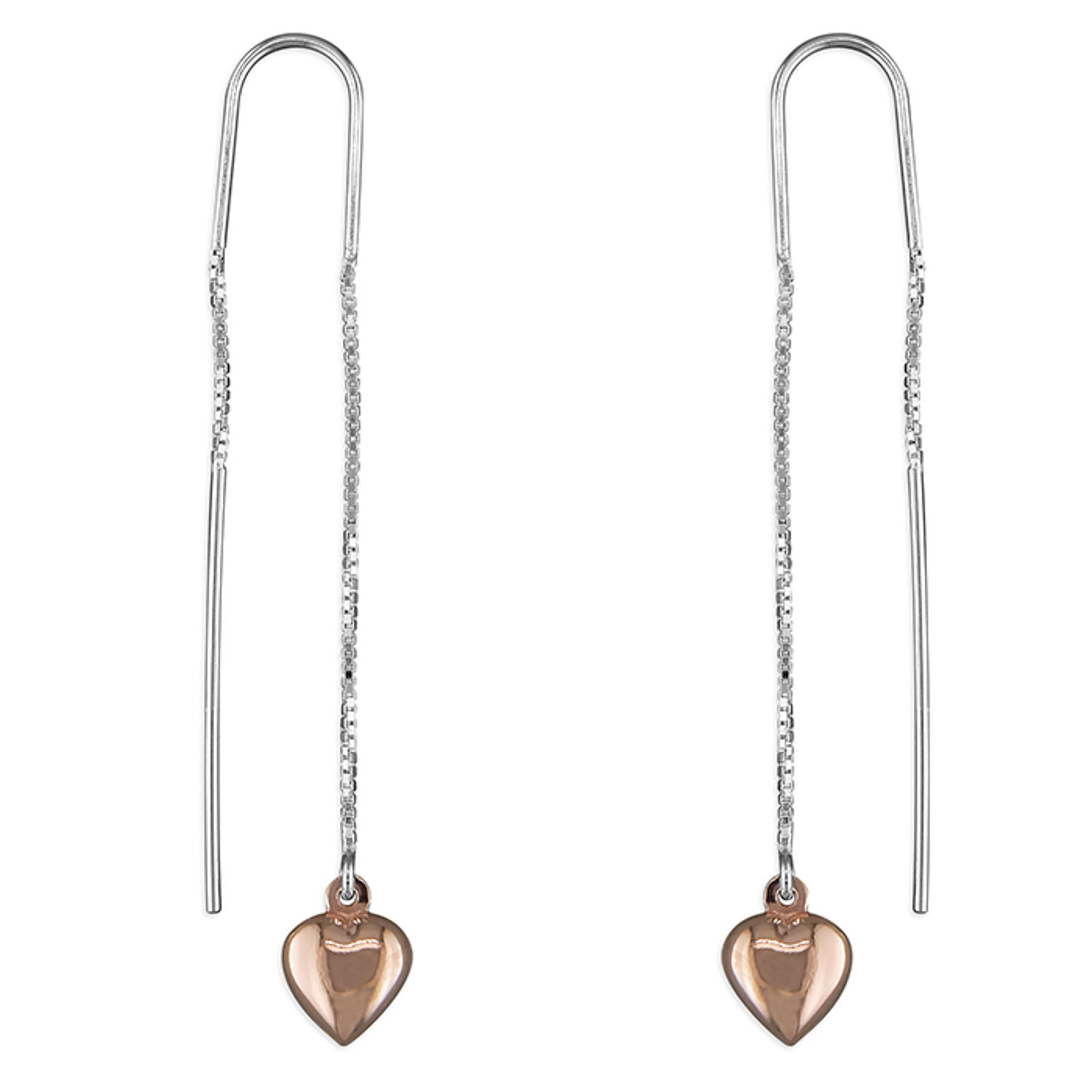 Sterling Silver & Rose Gold Plated Heart Pull-Through Earrings