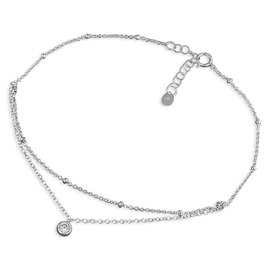 Sterling Silver Split Chain CZ Anklet