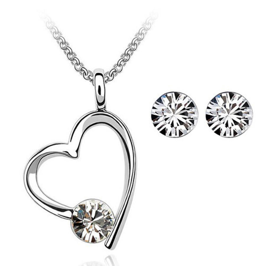 18ct White Gold Plated Open Heart Crystal Set