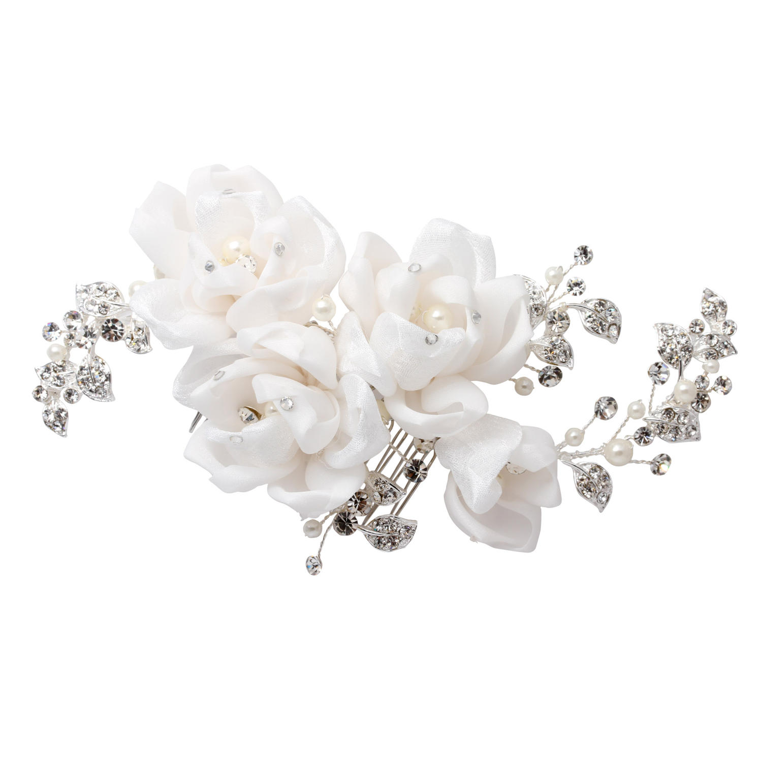 Flower Hair Comb With Crystal & Pearl Leaves