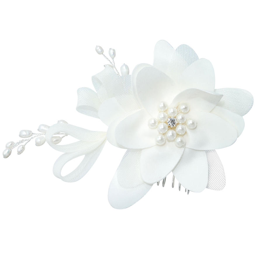 Ivory Flower With Pearl Centre Comb