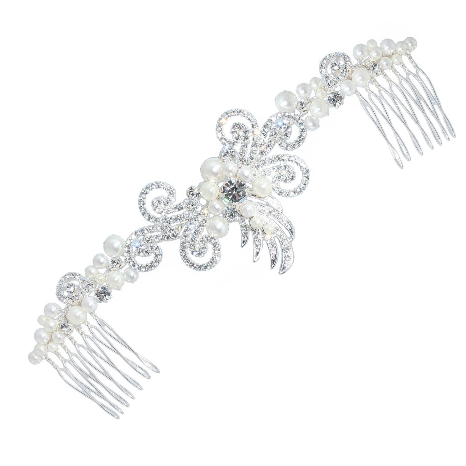 Crystal & Pearl Double Hair Comb