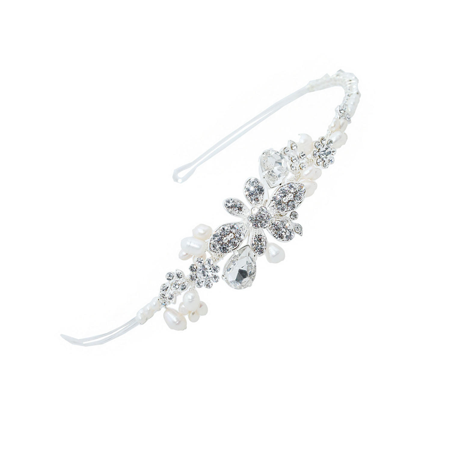 Crystal & Pearl Flower Side Detail Hair Band