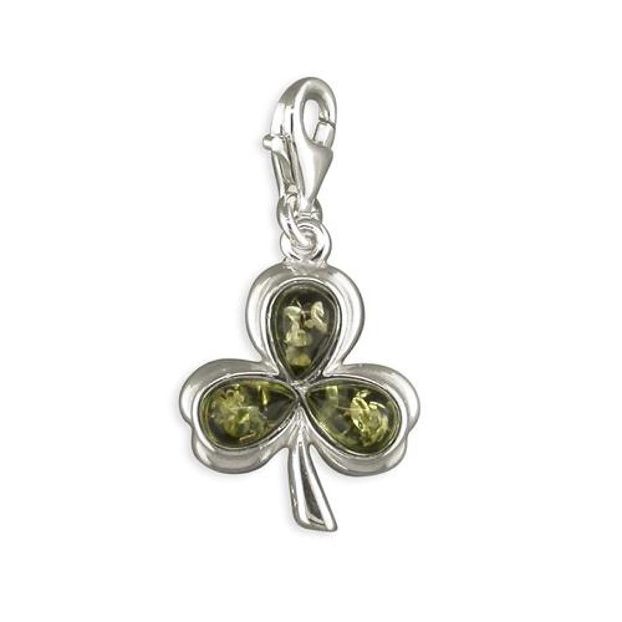 Sterling Silver Green Amber Shamrock Charm