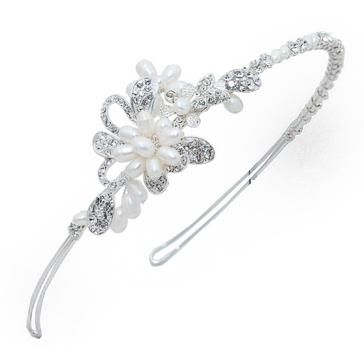 Crystal & Pearl Floral Side Hair Band