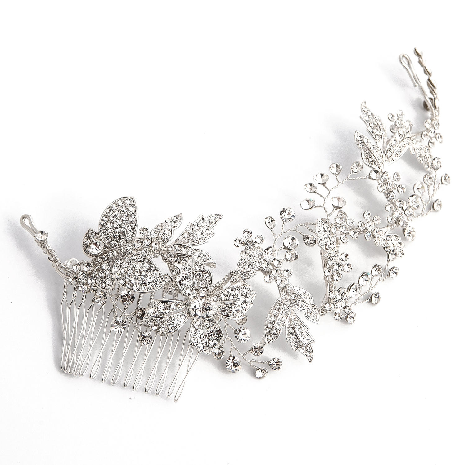 Crystal Leaf Hair Vine Comb