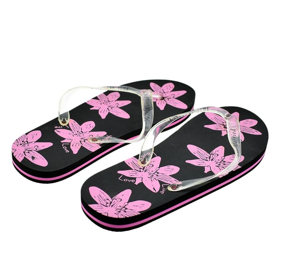 'Just Married' Black and Purple Flip-Flops Ladies