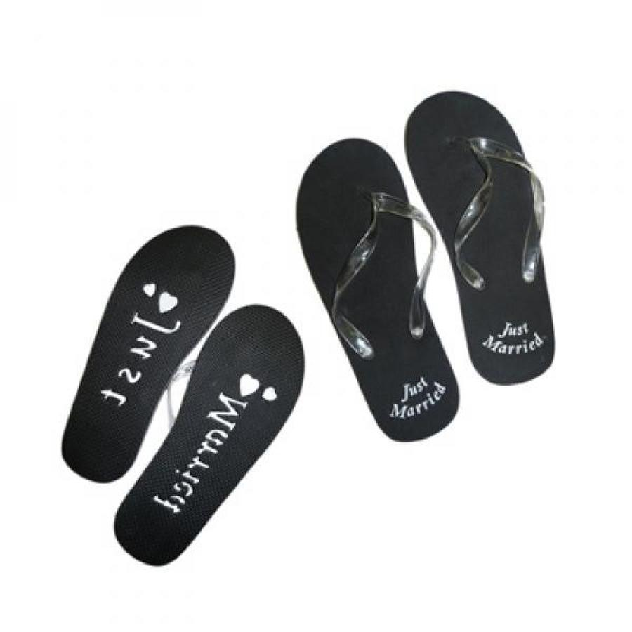 'Just Married' Black Flip-Flops Mens