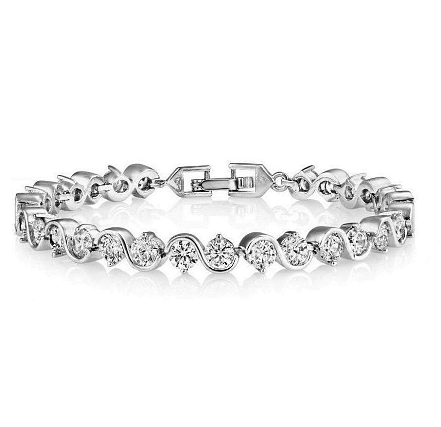 18ct White Gold Plated Crystal Tennis Bracelet