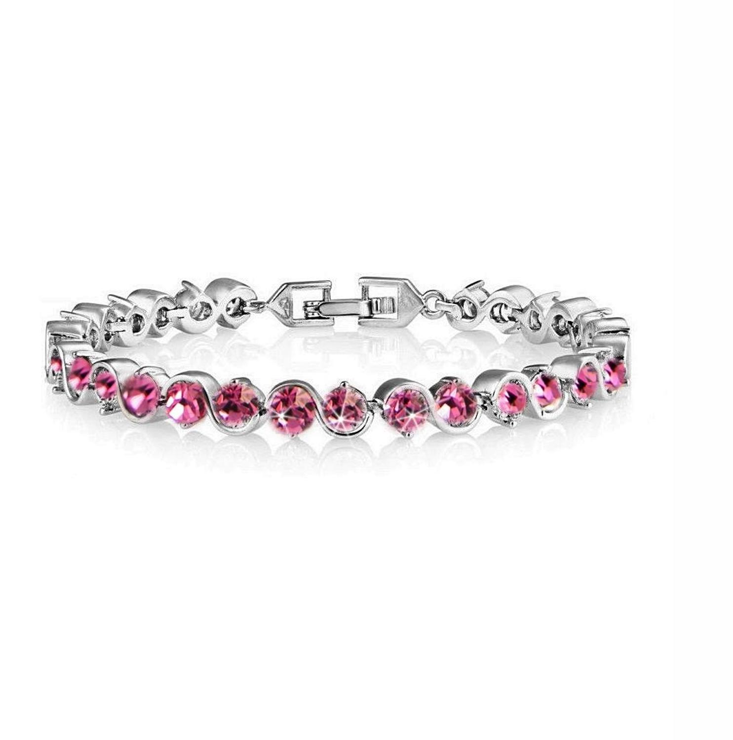 18ct White Gold Plated Pink Crystal Tennis Bracelet