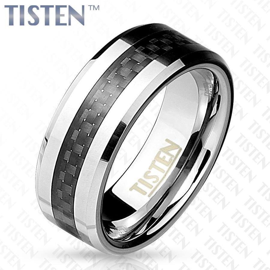 Tisten Beveled Edge Ring With Black Carbon Fibre Inlay