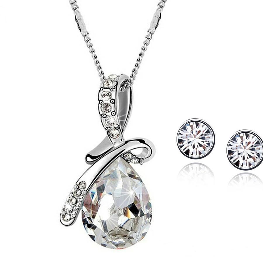 18ct White Gold Plated Crystal Teardrop Set