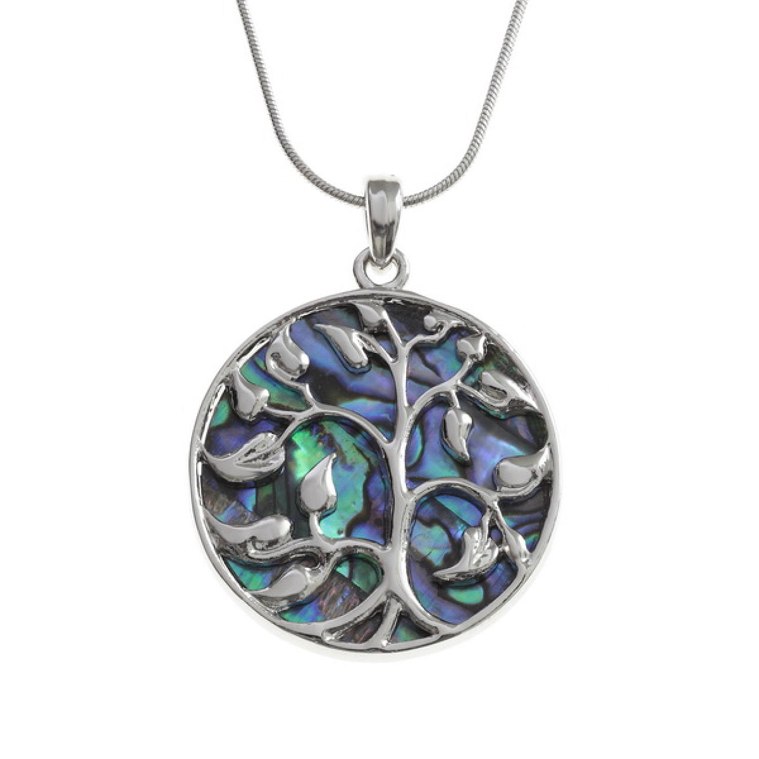 Large Tree Of Life Paua Shell Pendant