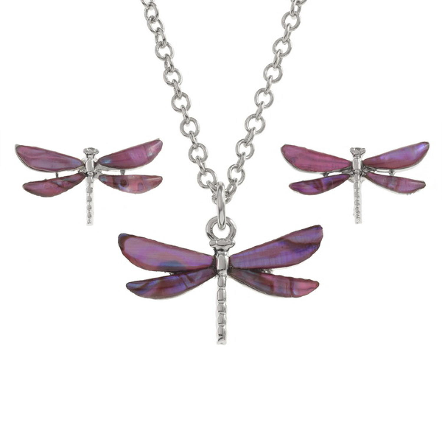 Pink Paua Shell Dragonfly Pendant & Earring Set
