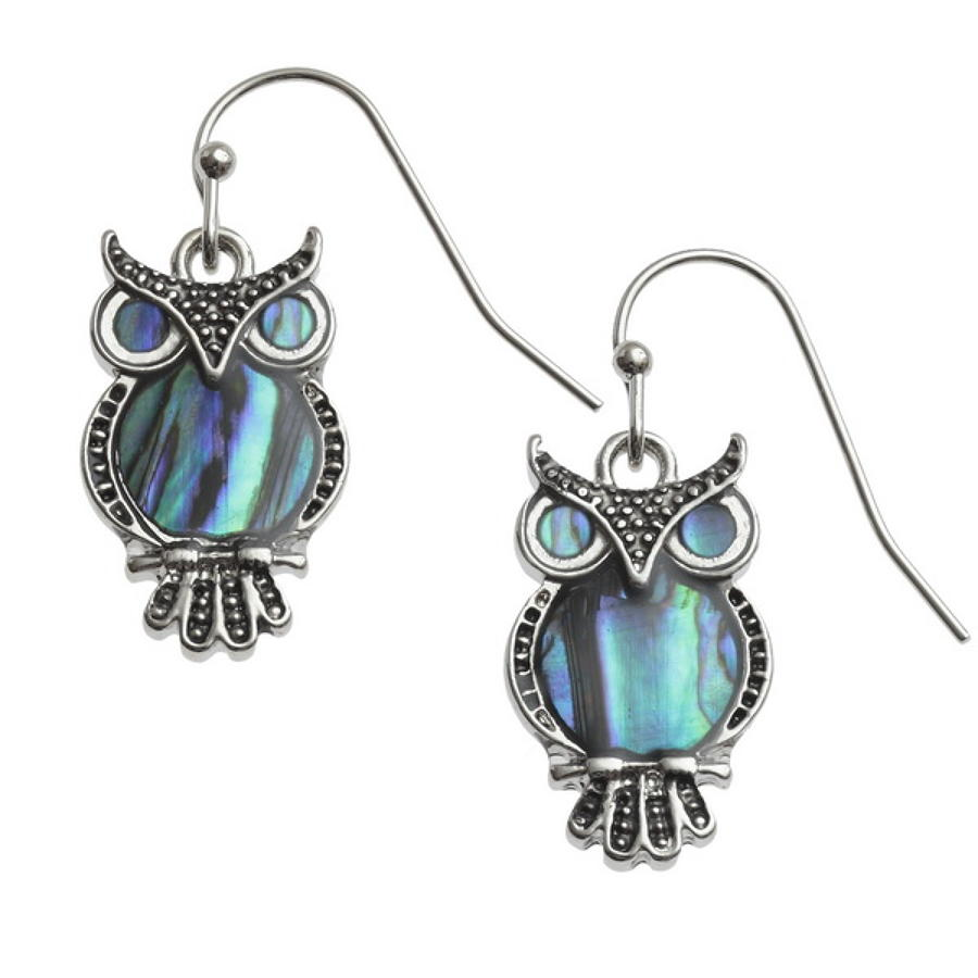 Paua Shell Owl Drop Earrings