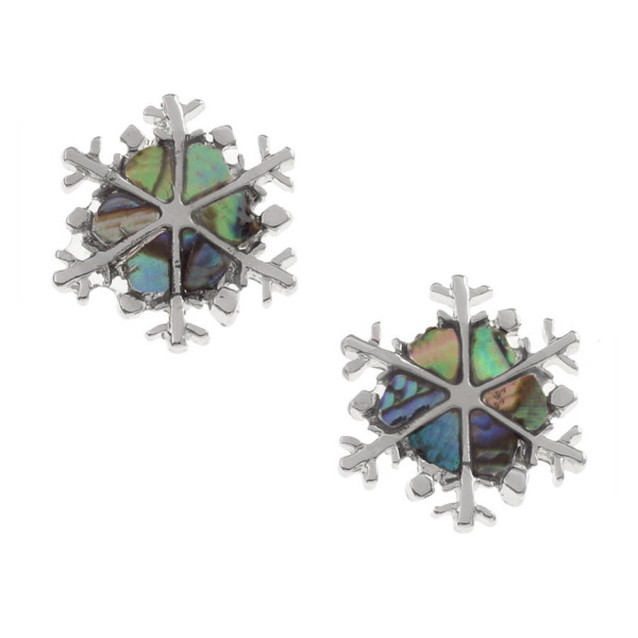 Paua Shell Snowflake Stud Earrings