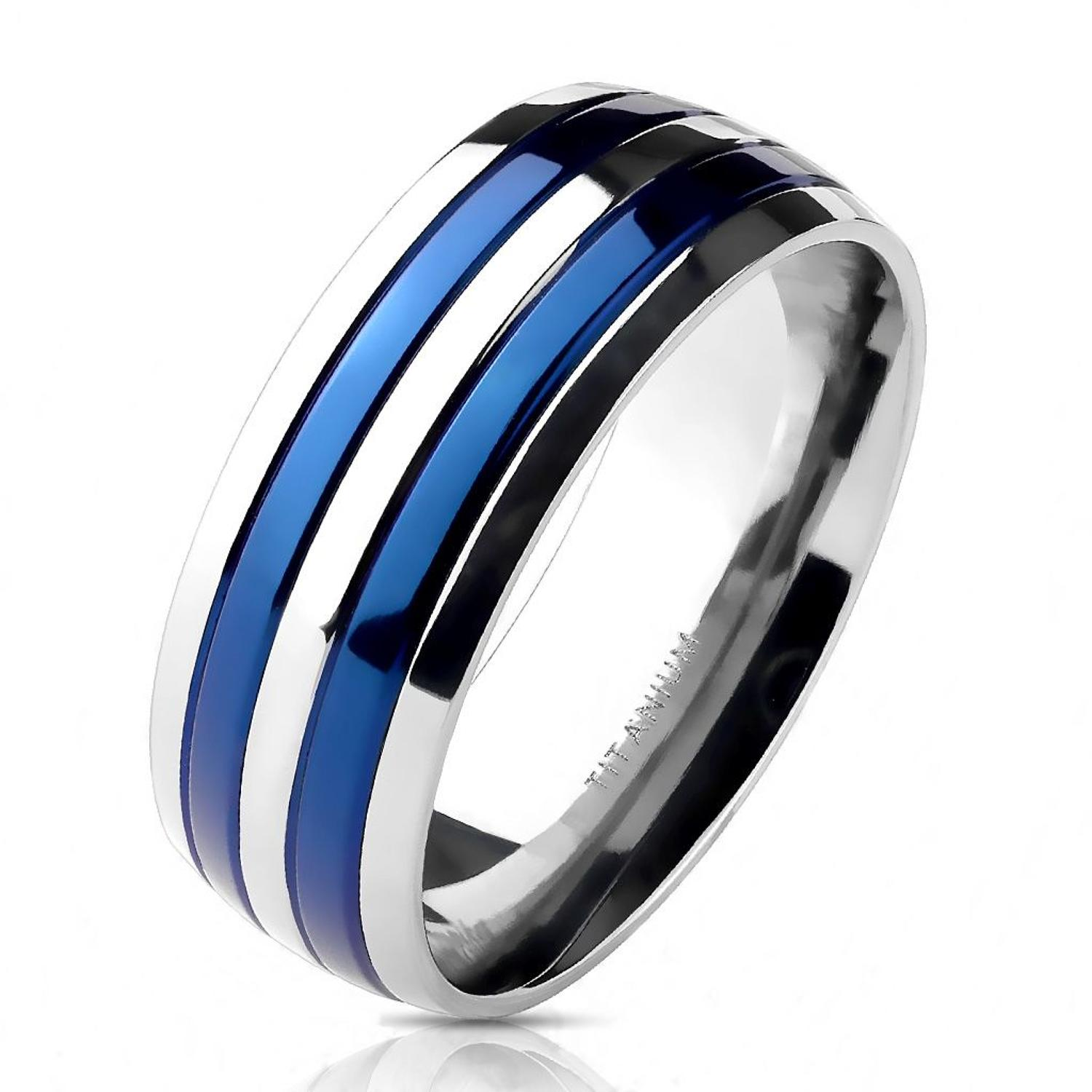 Titanium Double Blue Striped Ring