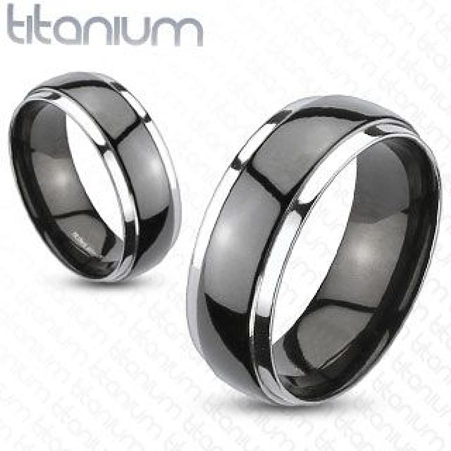 Titanium 2 Tone Domed Ring