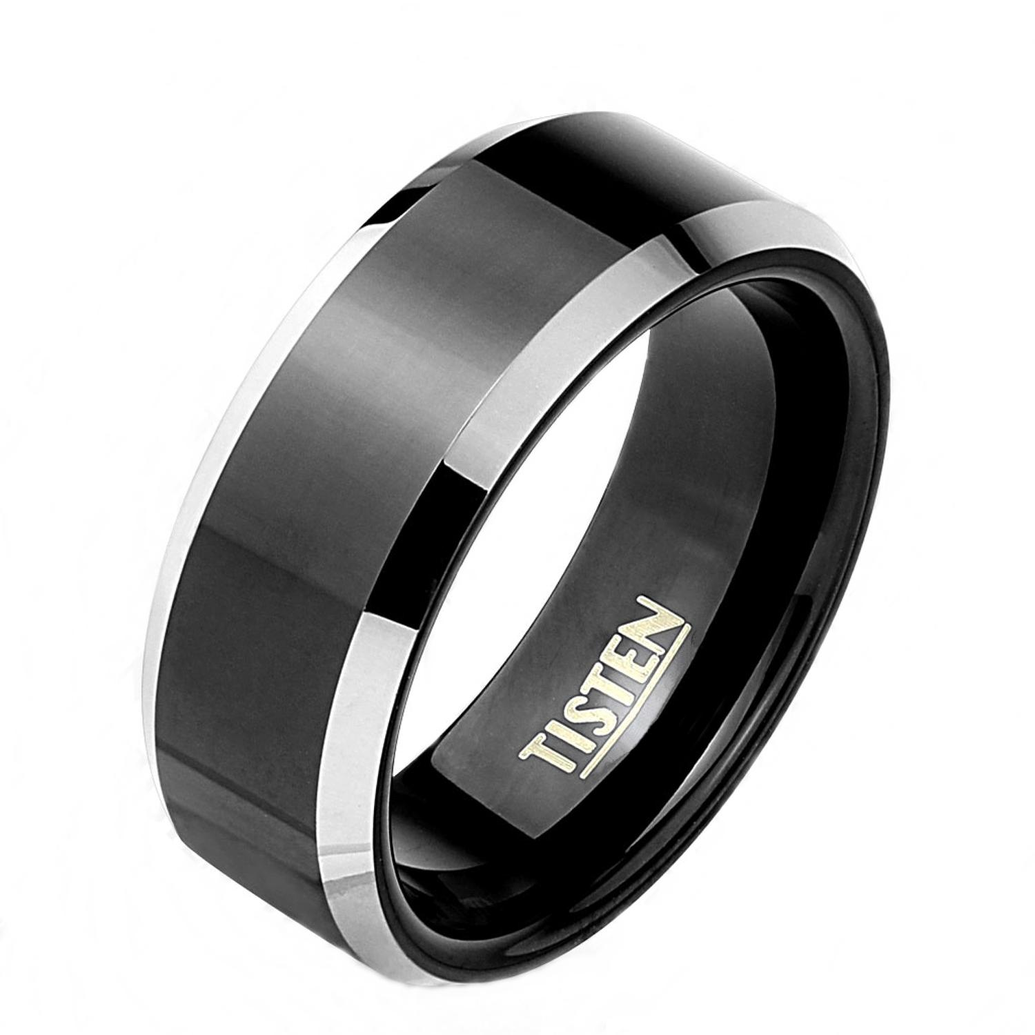 Black IP Center Beveled Edge Tisten Ring