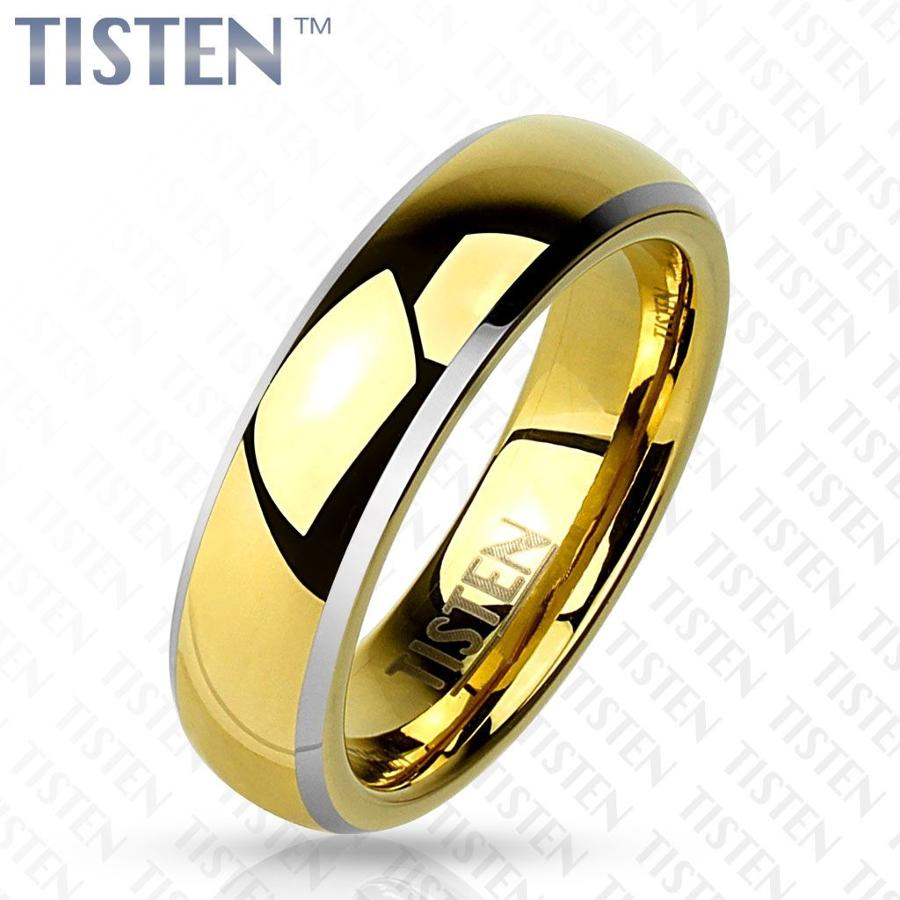 Gold IP Dome with Beveled Edge Tisten Ring