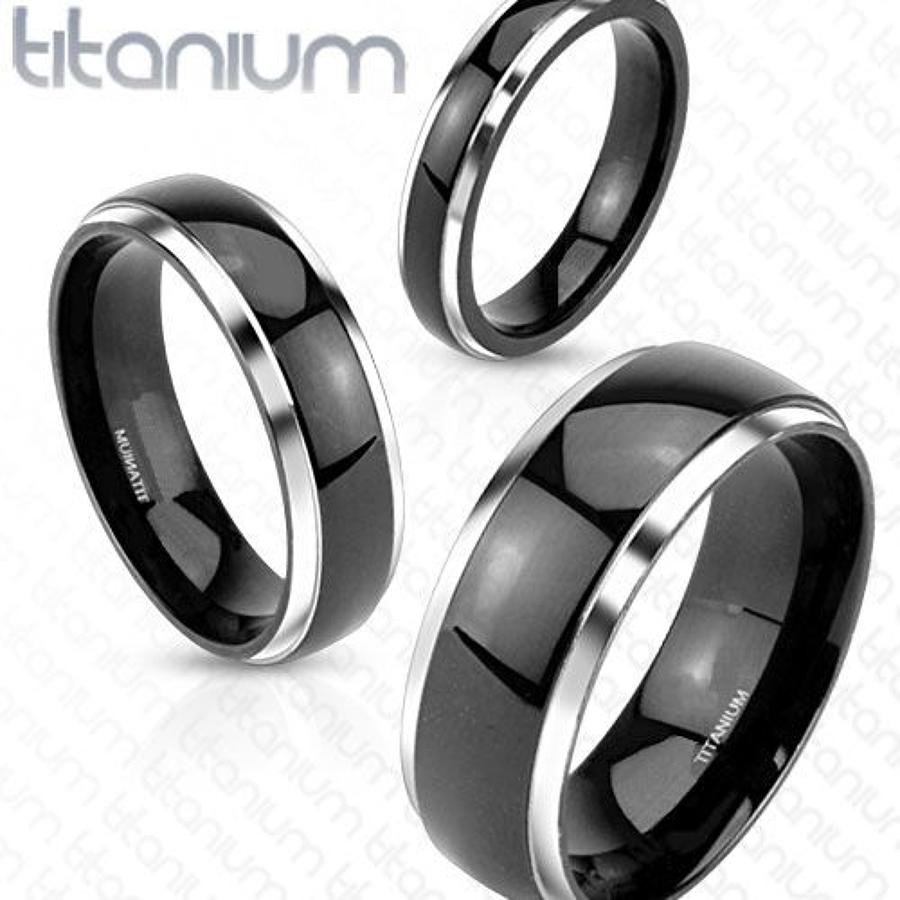 Two Tone Titanium Dome Band Ring w/Black IP Center