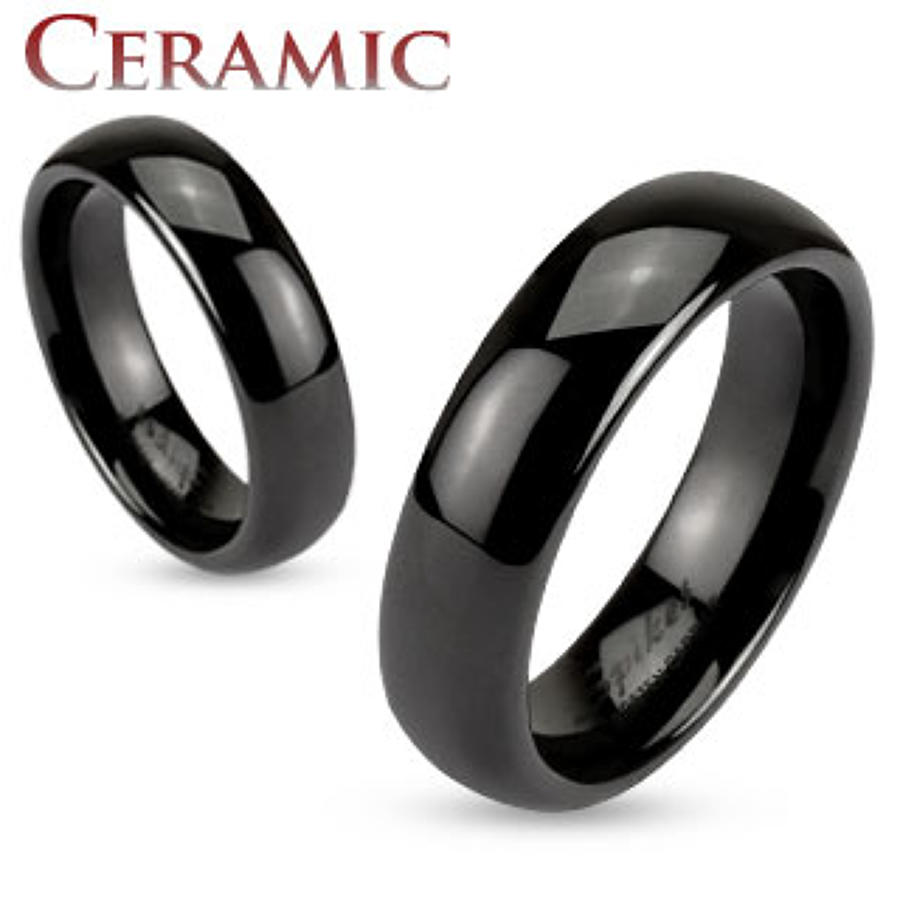 Black Ceramic Dome 6mm Ring