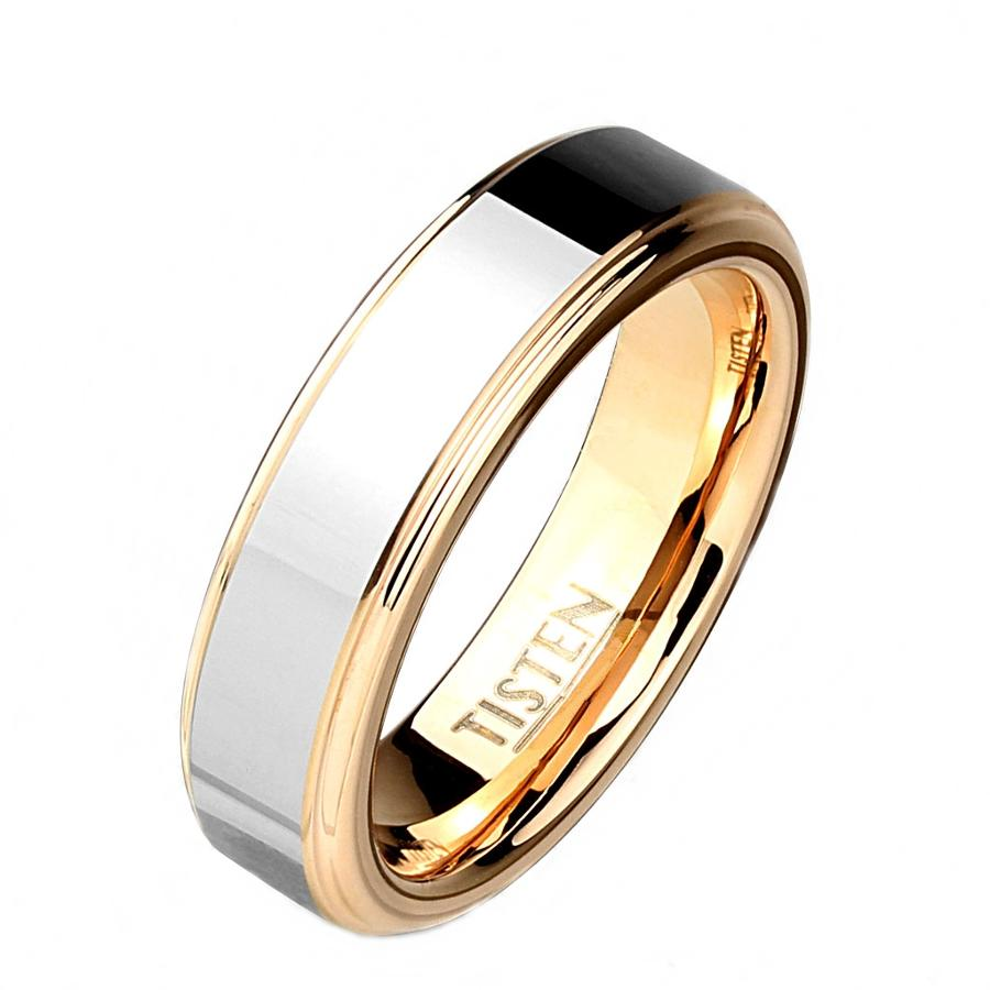 Two Tone Inner Rose Gold IP with Step Edges Tisten Ring