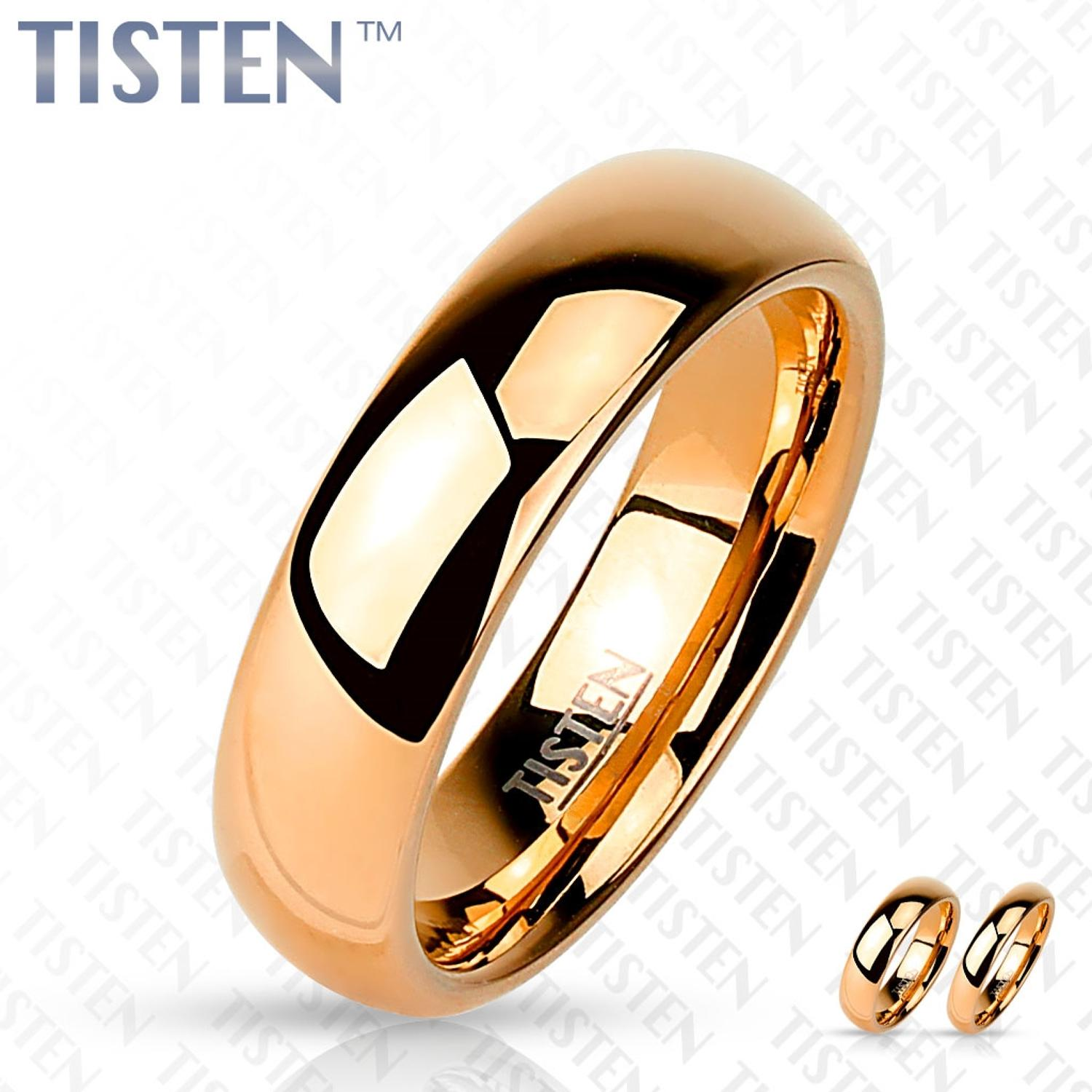 Glossy Mirror Polished Rose Gold IP Tisten Ring