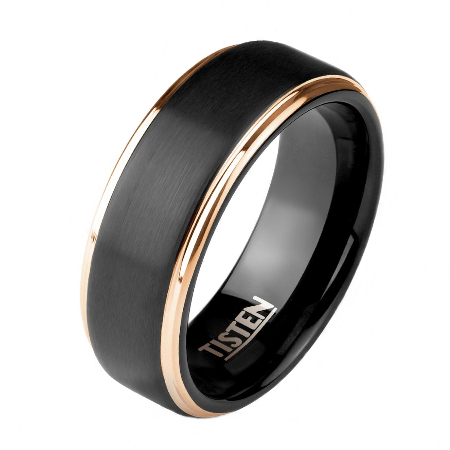 Matte Black Center And Rose Gold Stepped Edges Tisten Ring