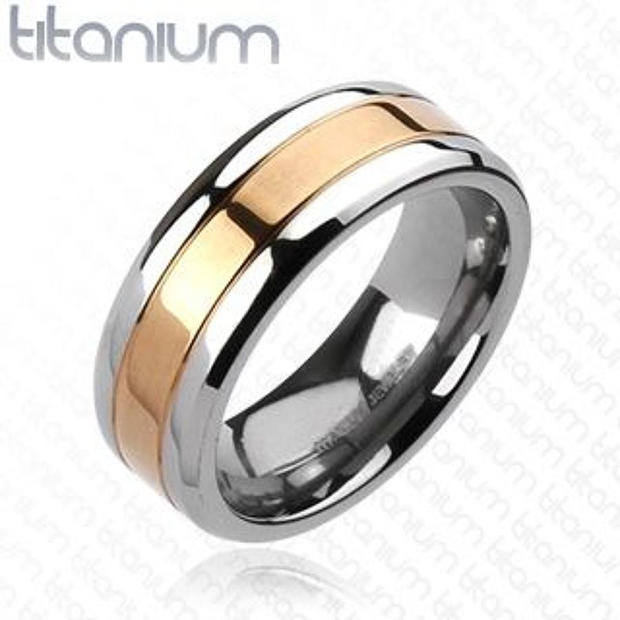 Center Rose Gold IP Band Ring Titanium