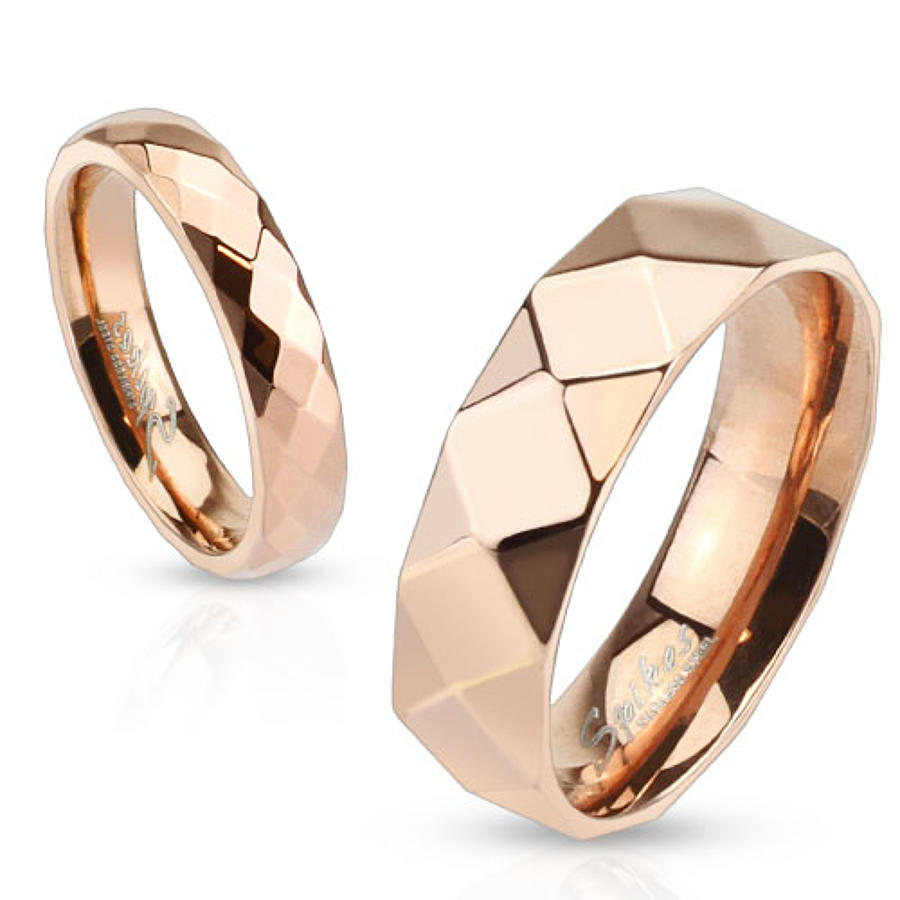 Diamond Faceted Rose Gold PlatedStainless Steel Ring