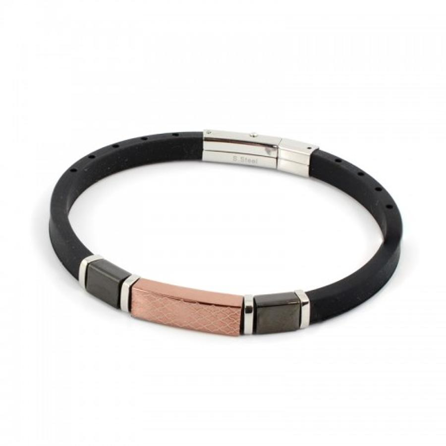 Rubber & Steel Black/Brown Bracelet