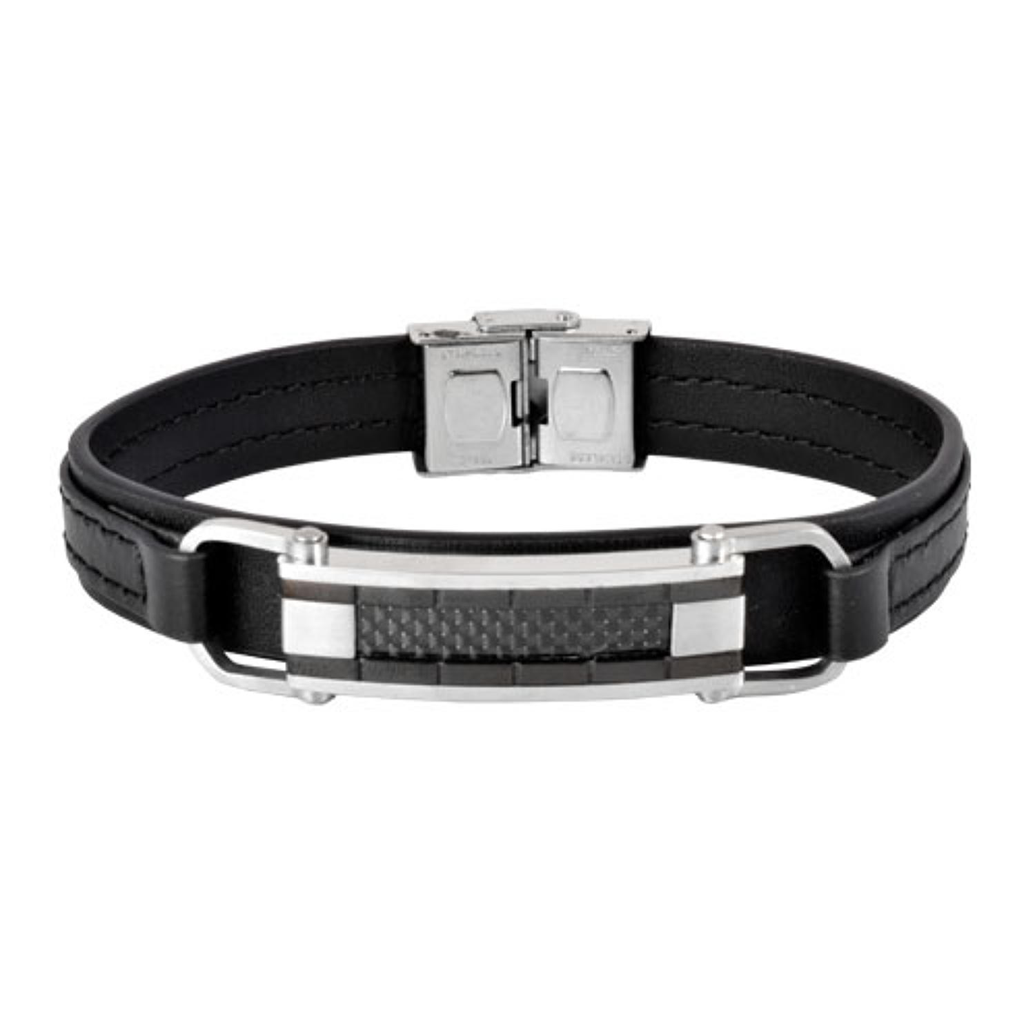 Black Leather & Carbon Fiber Detail Bracelet
