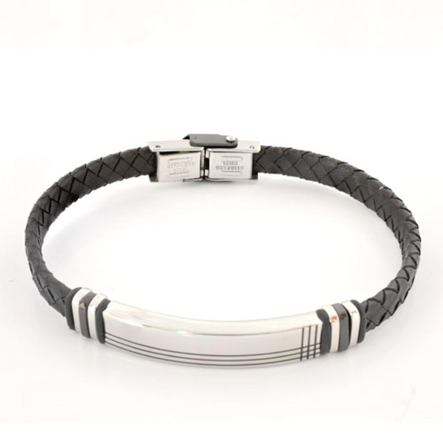 Black Woven Leather & Stainless Steel Bracelet