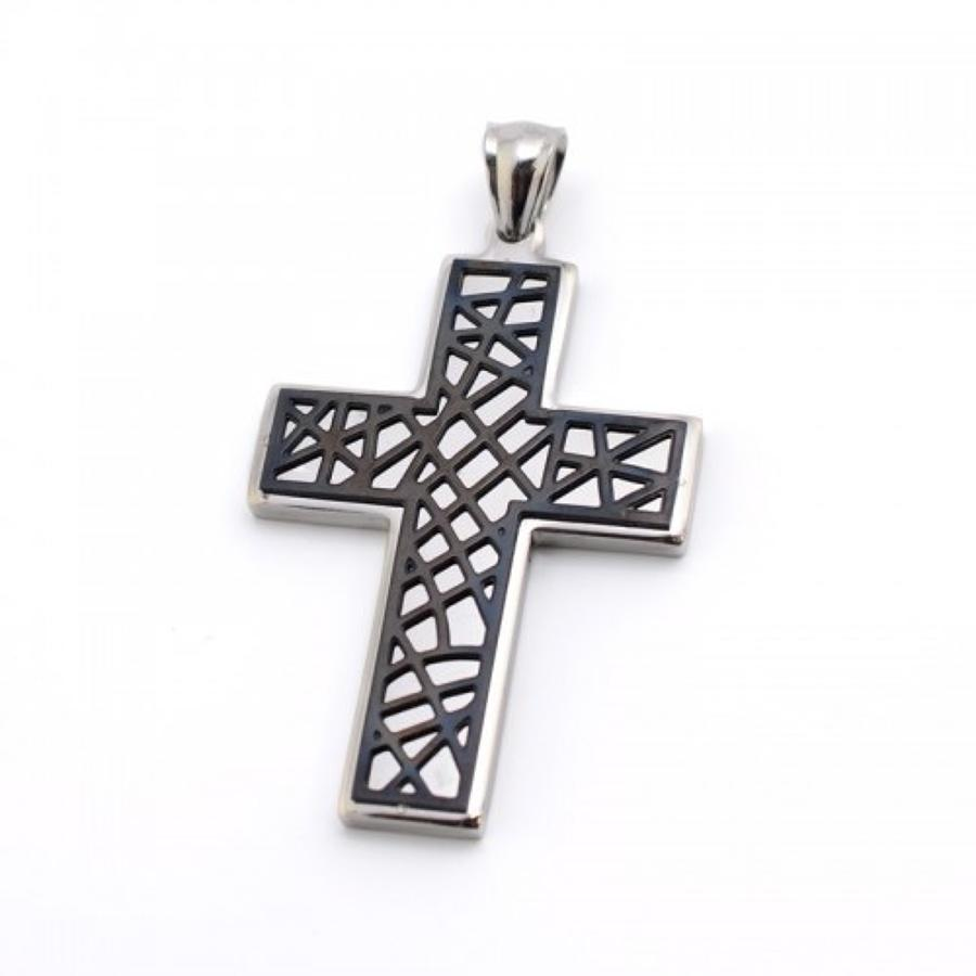 Stainless Steel Cross With Black Detail