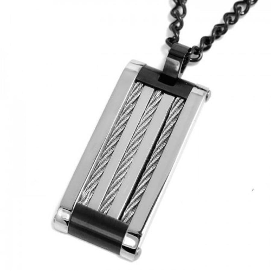 Stainless Steel Rectangular Pendant & Chain