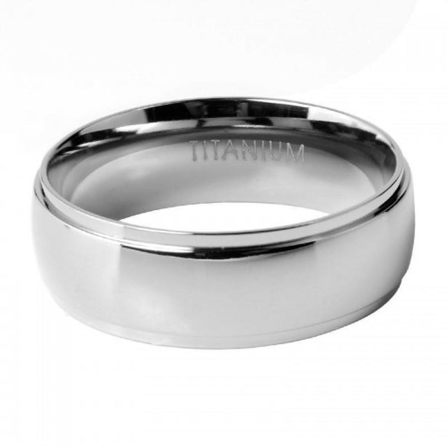 Gents Titanium Stepped Edge Ring
