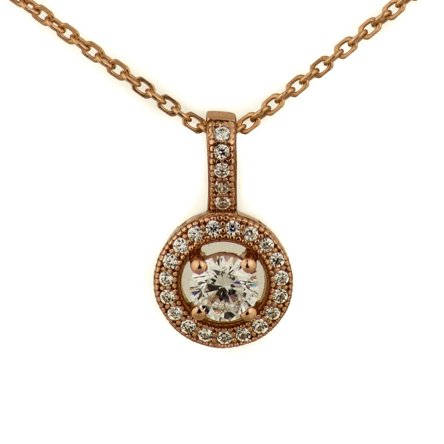Sterling Silver & Rose Gold Plated Halo Cluster Pendant