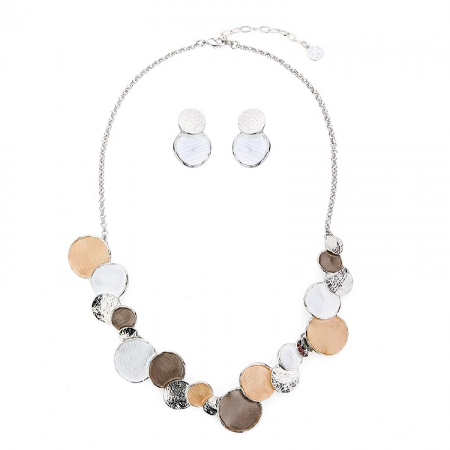 Autumnal Circular Necklace & Earring Set
