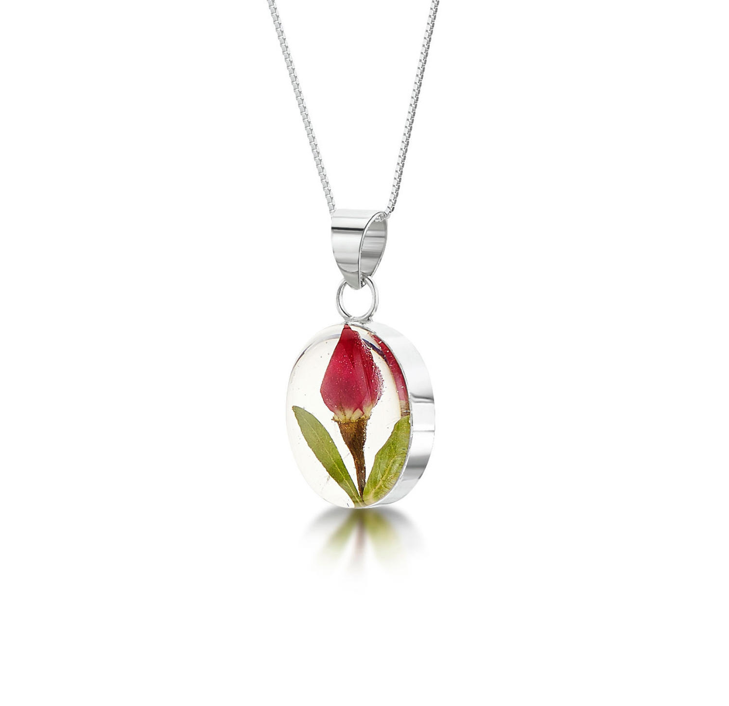 Rose Bud Oval Pendant