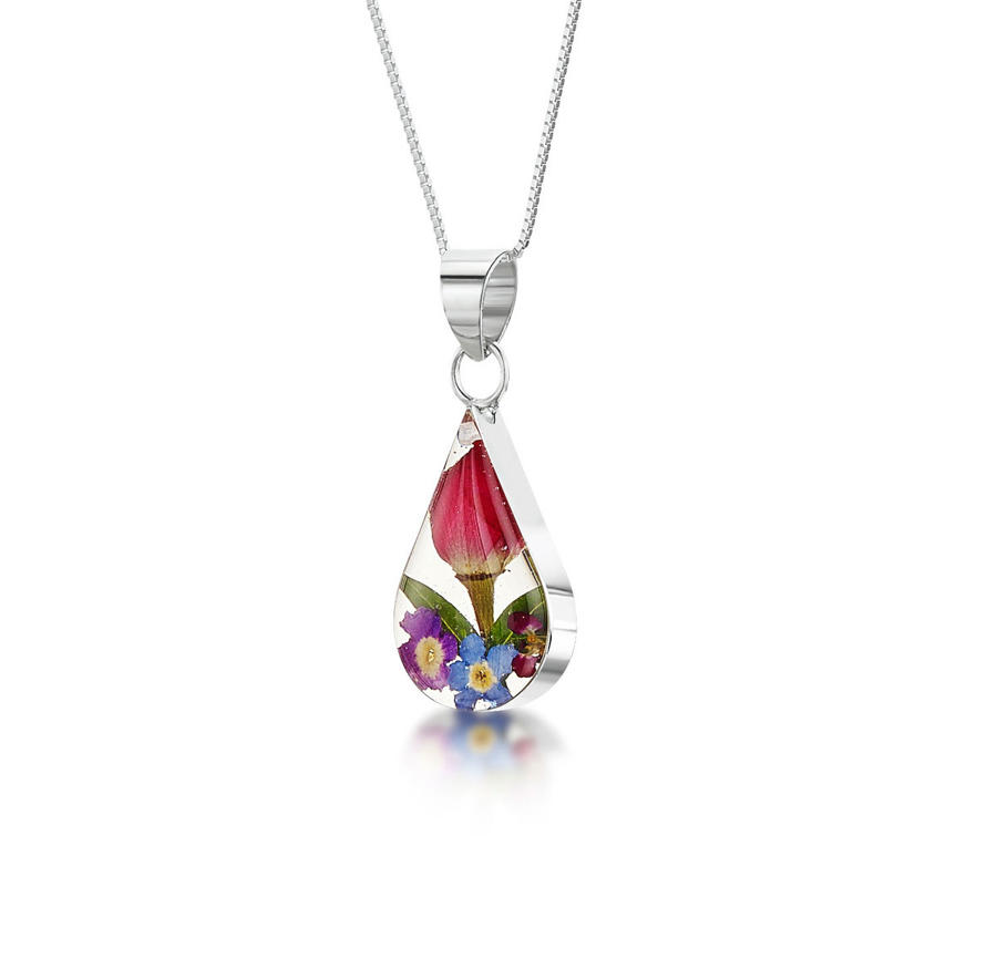 Mixed Flowers Teardrop Pendant