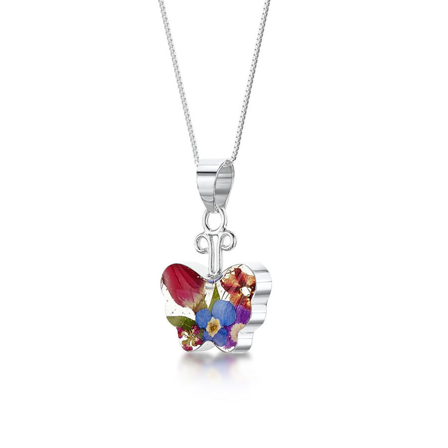 Mixed Flowers Butterfly Pendant
