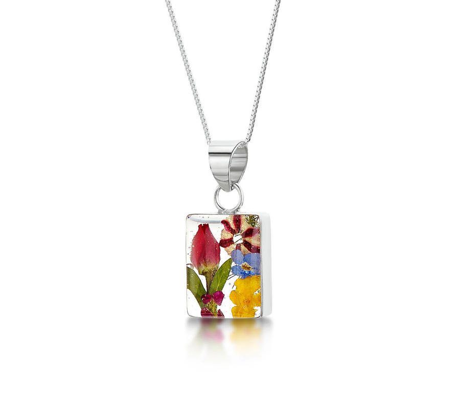 Mixed Flowers Rectangle Pendant