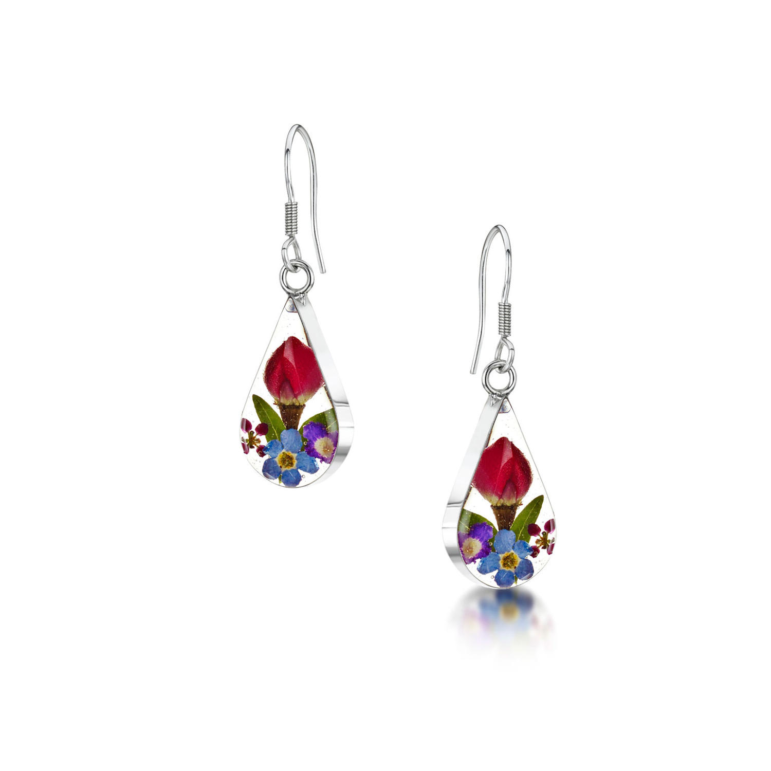 Mixed Flowers Teardrop Drop Earrings