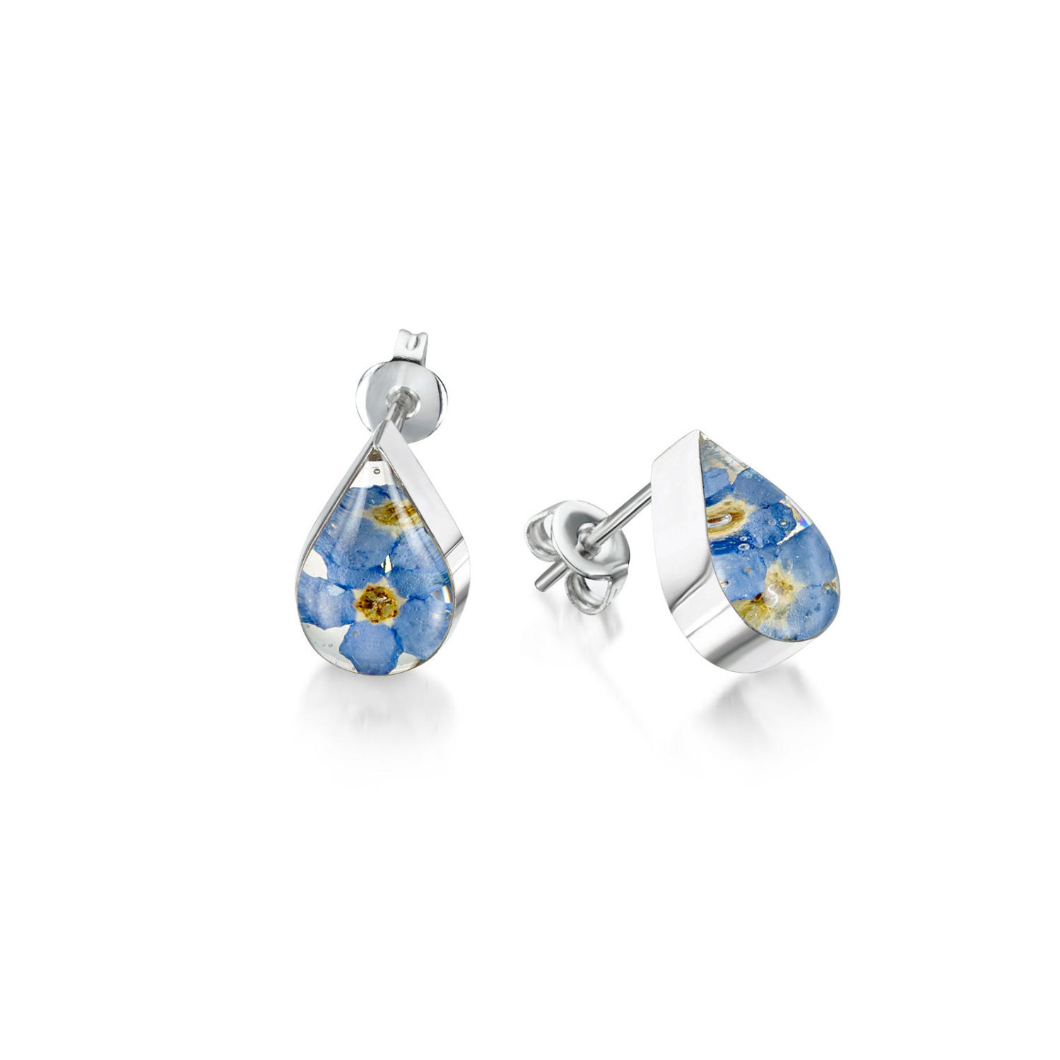 Forget-Me-Not Teardrop Stud Earrings