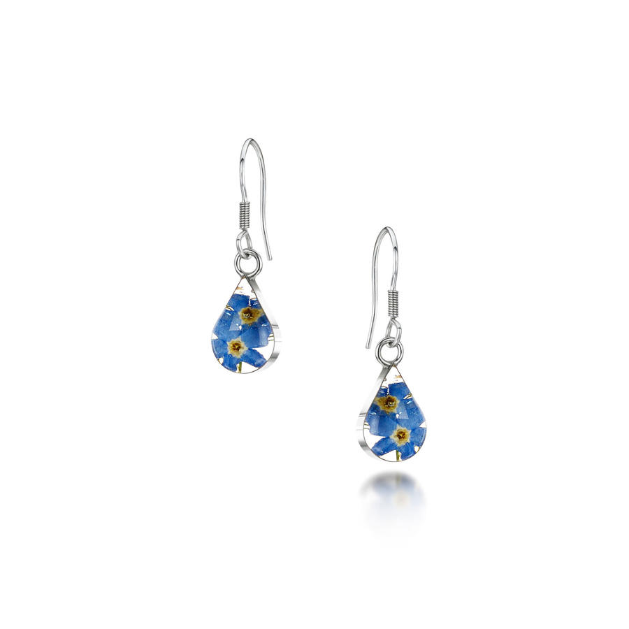 Forget-Me-Not Teardrop Drop Earrings