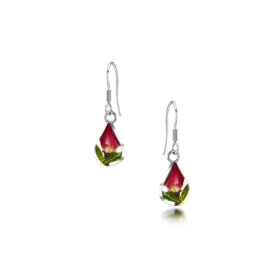 Rose Bud Teardrop Shaped Drop Earrings